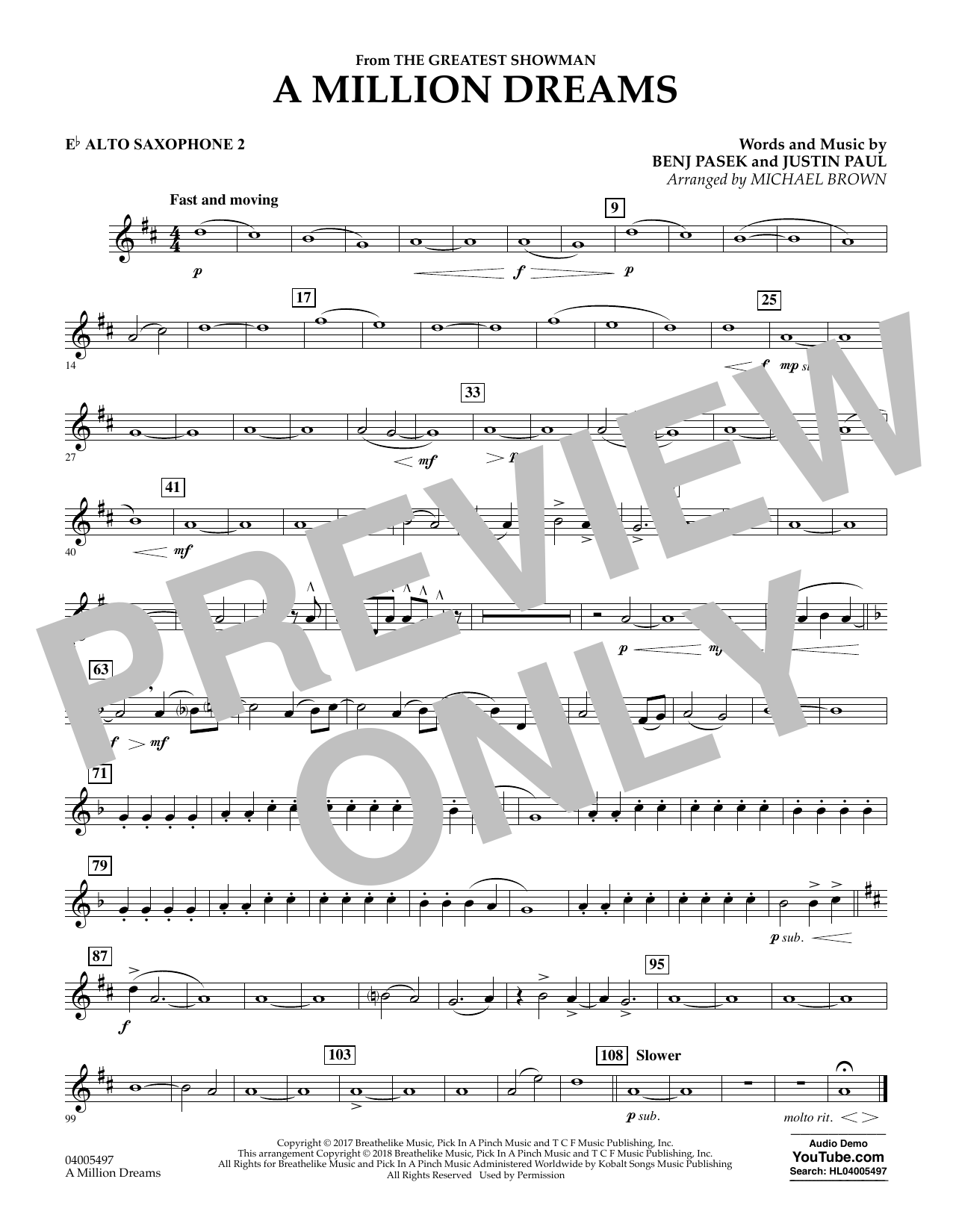 Pasek & Paul A Million Dreams (from The Greatest Showman) (arr. Michael Brown) - Eb Alto Saxophone 2 sheet music notes and chords. Download Printable PDF.