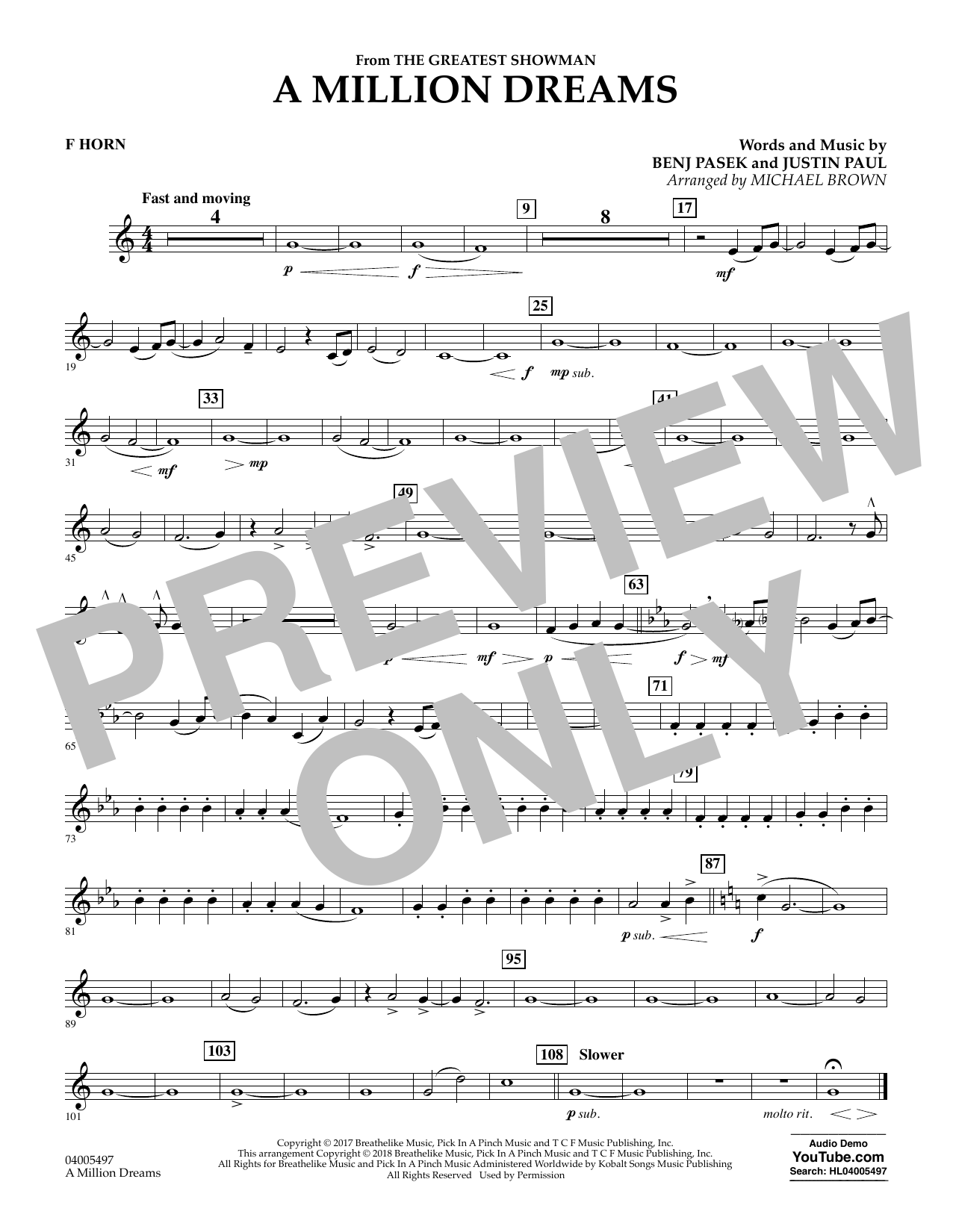 Pasek & Paul A Million Dreams (from The Greatest Showman) (arr. Michael Brown) - F Horn sheet music notes and chords. Download Printable PDF.