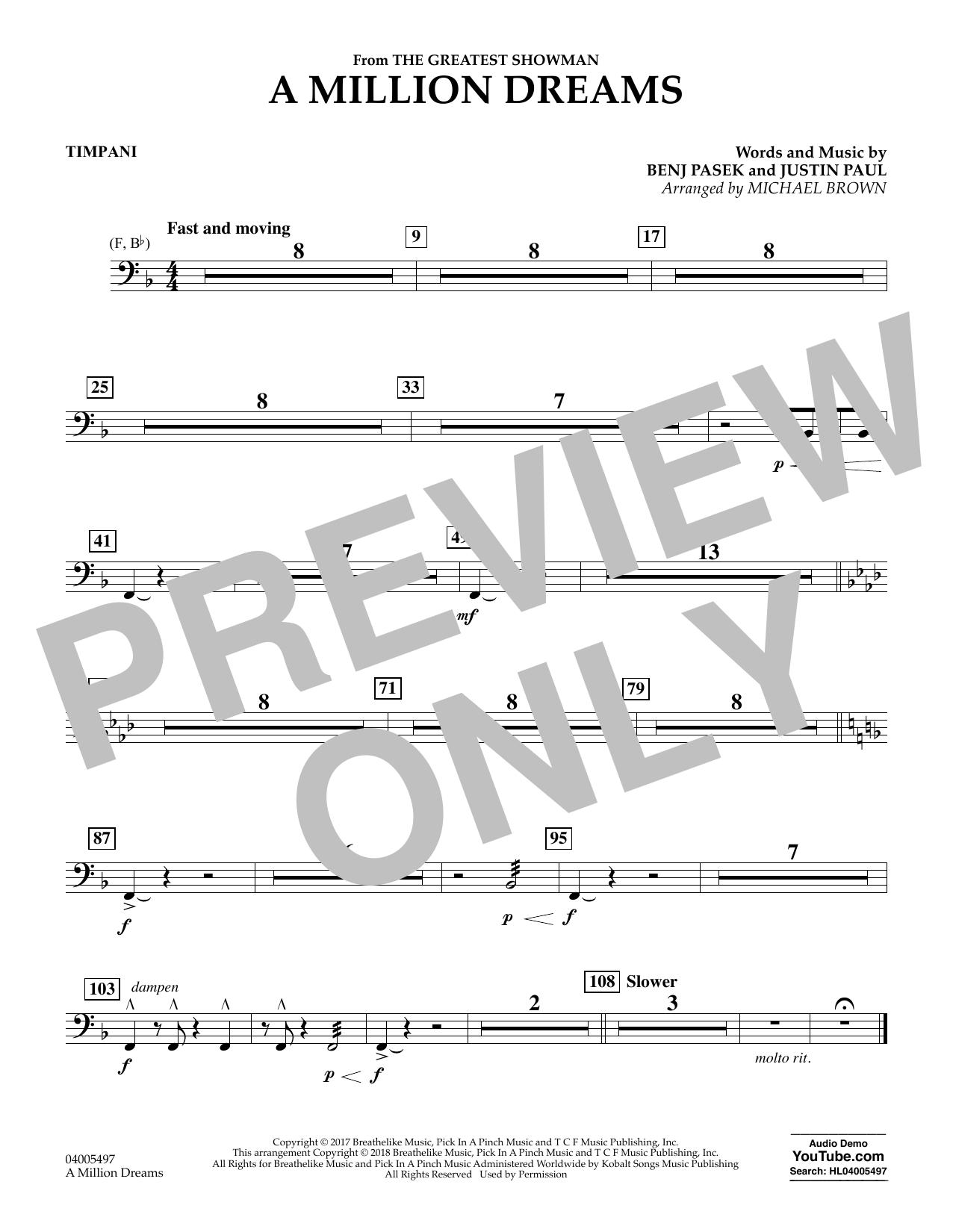 Pasek & Paul A Million Dreams (from The Greatest Showman) (arr. Michael Brown) - Timpani sheet music notes and chords. Download Printable PDF.
