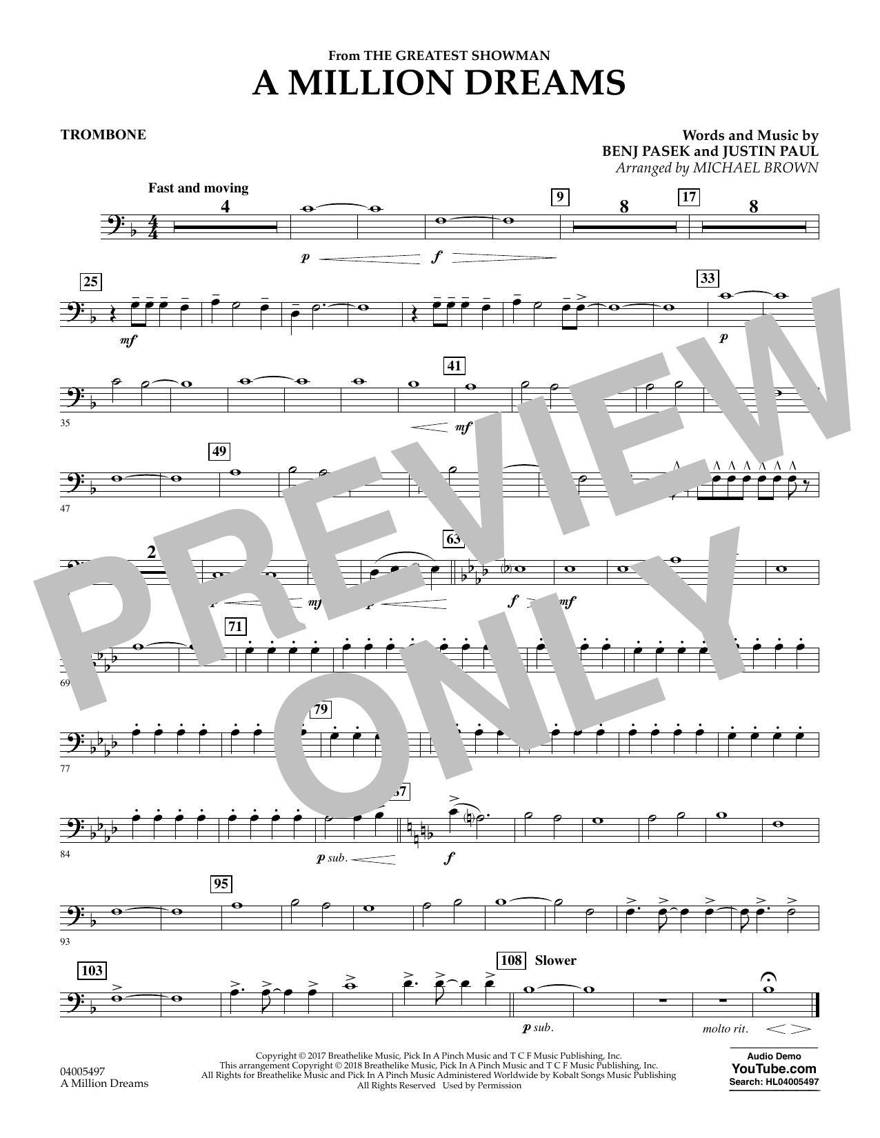Pasek & Paul A Million Dreams (from The Greatest Showman) (arr. Michael Brown) - Trombone sheet music notes and chords. Download Printable PDF.