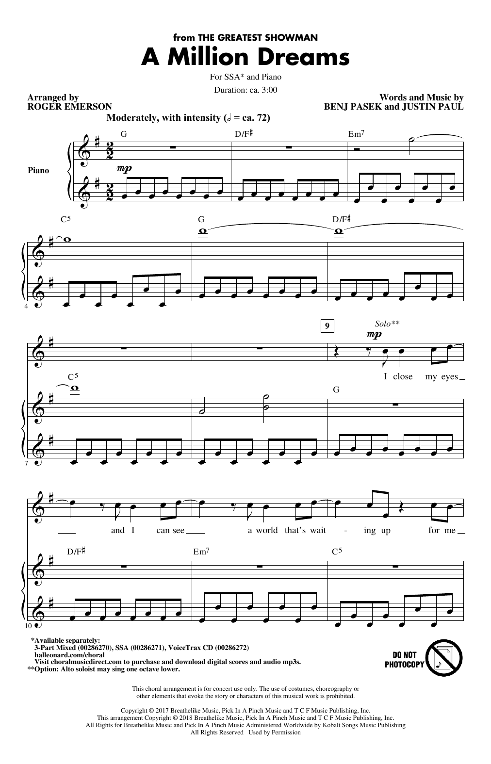 Pasek Paul A Million Dreams From The Greatest Showman Arr Roger Emerson Sheet Music Pdf Notes Chords Film Tv Score 3 Part Mixed Choir Download Printable Sku 407166