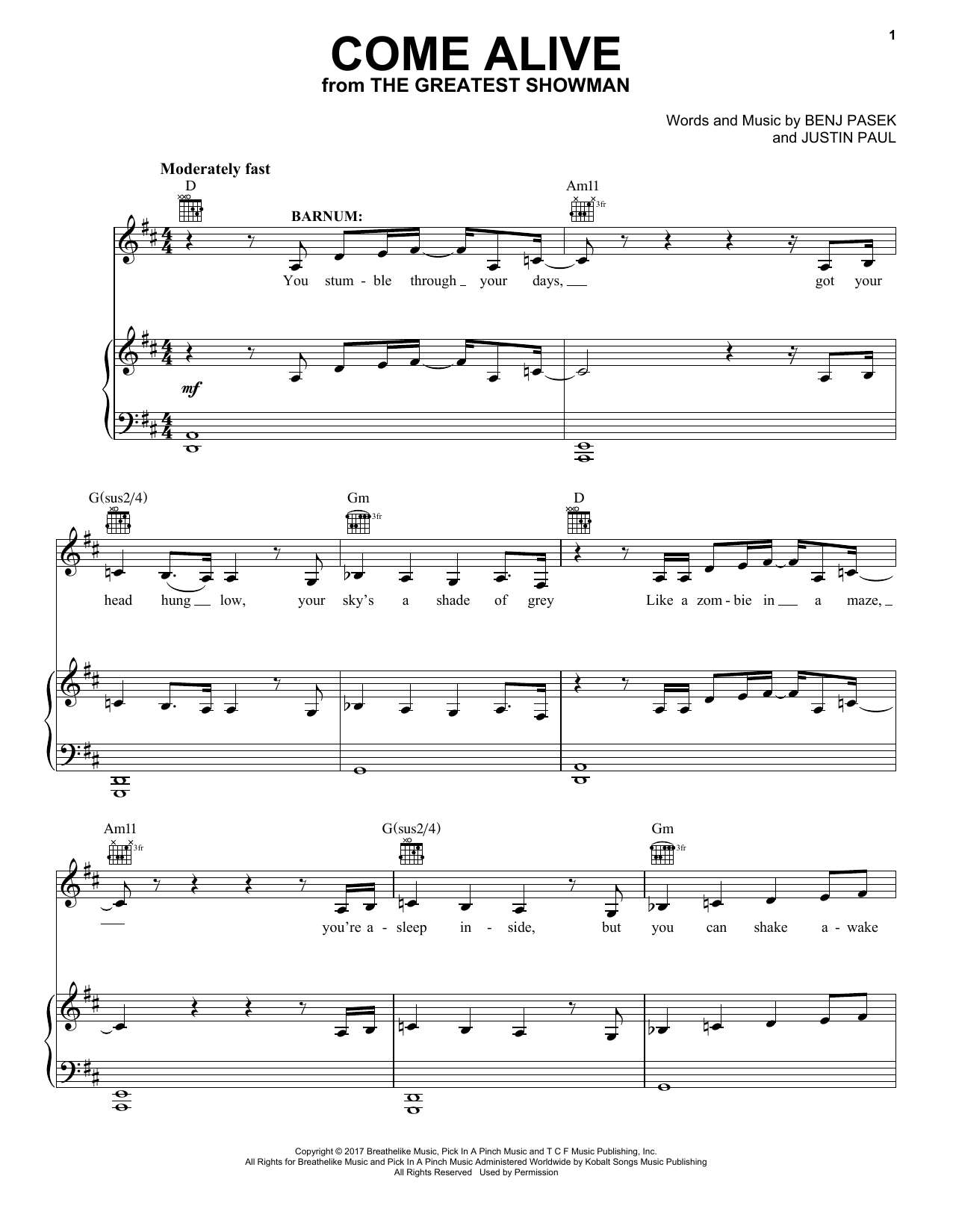 Pasek & Paul Come Alive (from The Greatest Showman) sheet music notes and chords. Download Printable PDF.
