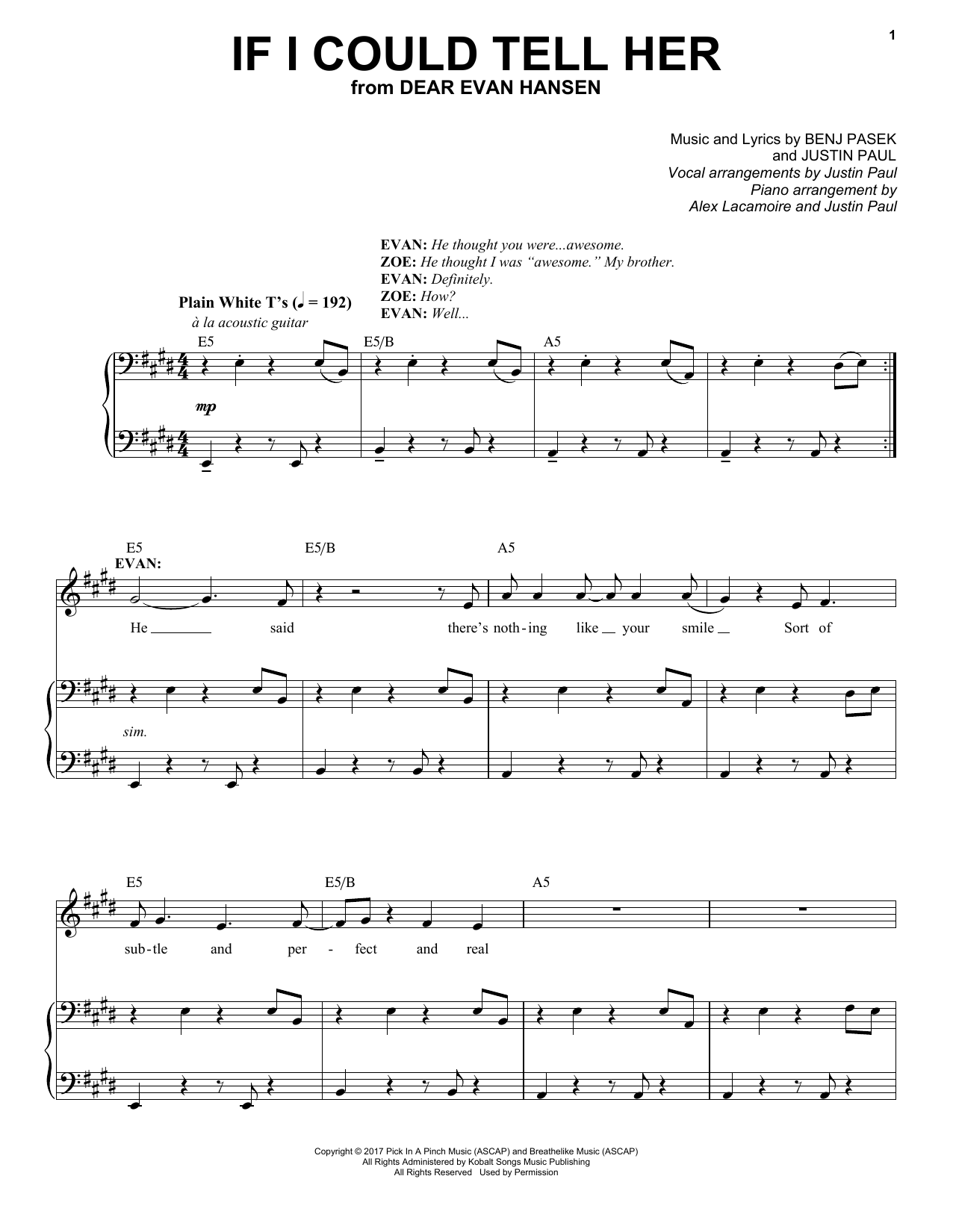 Pasek & Paul If I Could Tell Her (from Dear Evan Hansen) sheet music notes and chords. Download Printable PDF.