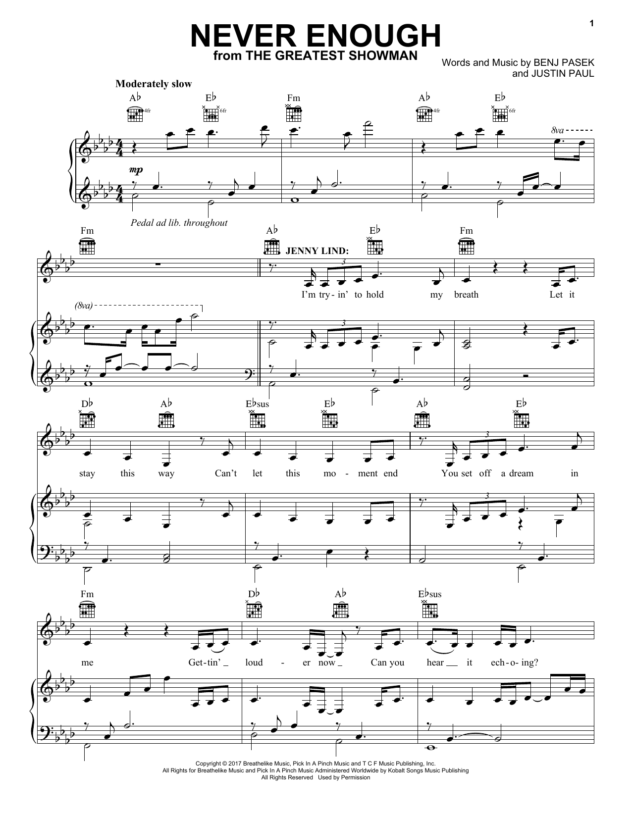 Pasek & Paul Never Enough (from The Greatest Showman) sheet music notes and chords. Download Printable PDF.