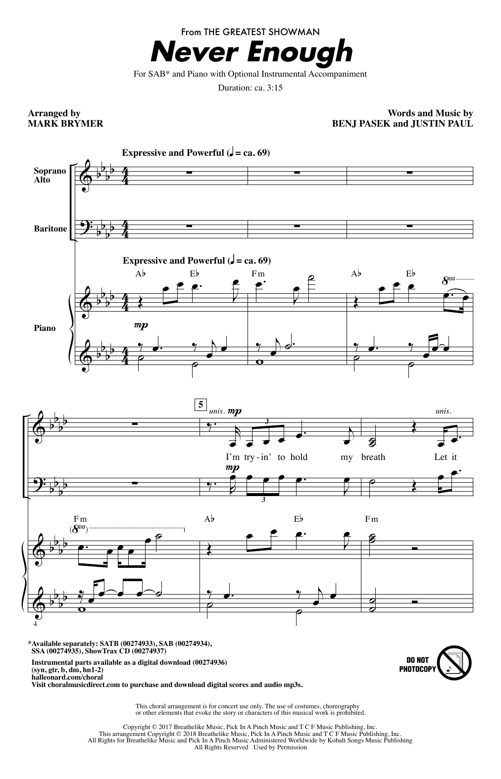Pasek & Paul Never Enough (from The Greatest Showman) (arr. Mark Brymer) sheet music notes and chords. Download Printable PDF.