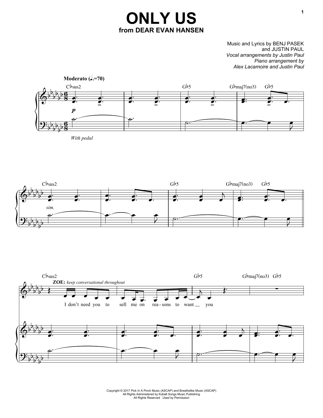 Pasek & Paul Only Us (from Dear Evan Hansen) sheet music notes and chords. Download Printable PDF.