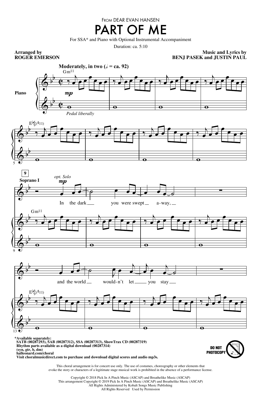 Pasek & Paul Part Of Me (from Dear Evan Hansen) (arr. Roger Emerson) sheet music notes and chords