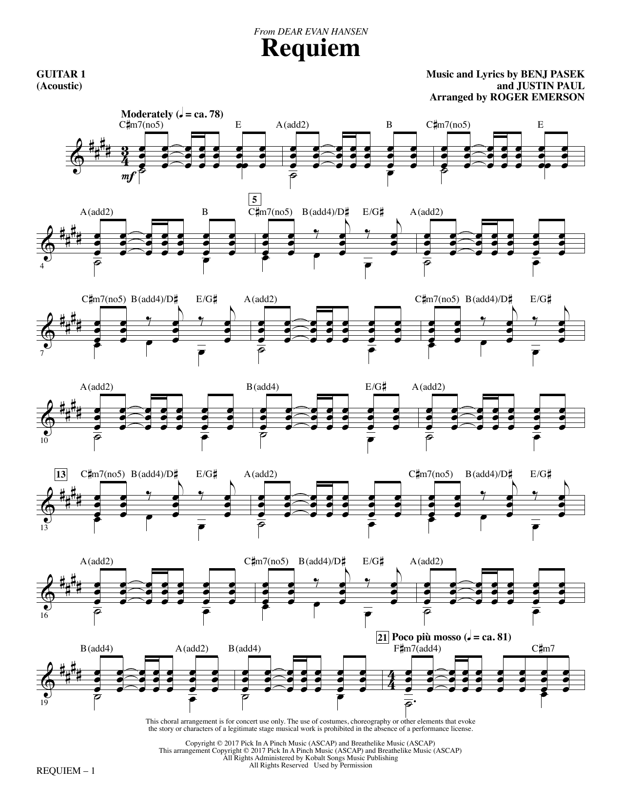 Pasek & Paul Requiem (from Dear Evan Hansen) (arr. Roger Emerson) - Guitar 1 sheet music notes and chords. Download Printable PDF.