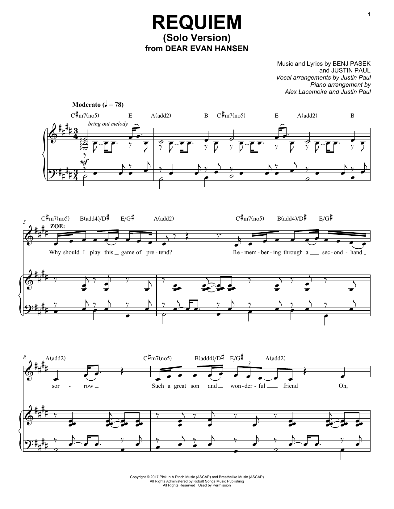 Pasek & Paul Requiem (Solo Version) (from Dear Evan Hansen) sheet music notes and chords. Download Printable PDF.