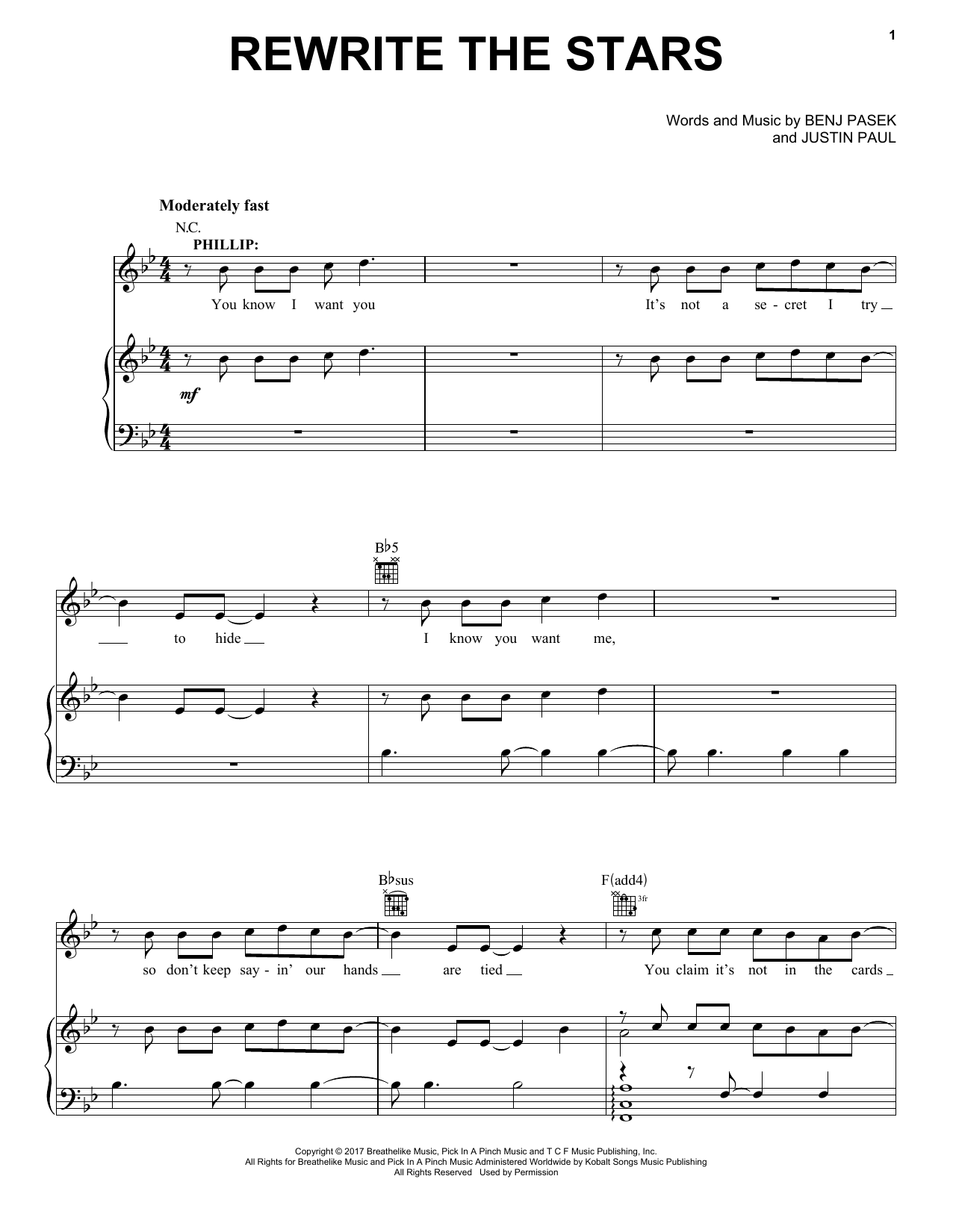 Pasek & Paul Rewrite The Stars (from The Greatest Showman) sheet music notes and chords. Download Printable PDF.