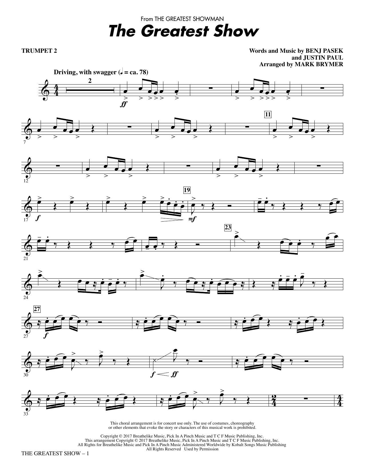 Pasek & Paul 'The Greatest Show - Trumpet 2' Sheet Music Notes, Chords |  Download Printable Choir Instrumental Pak - SKU: 375696