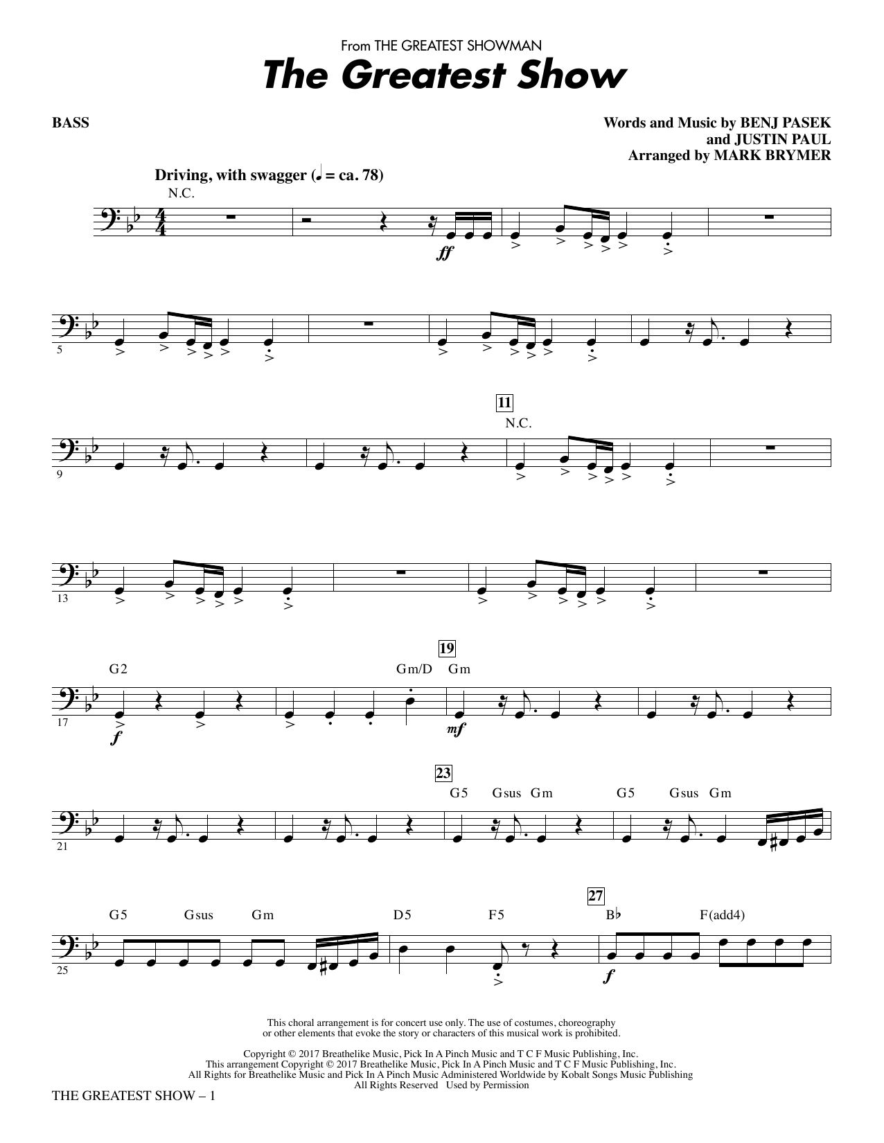Pasek & Paul The Greatest Show - Bass sheet music notes and chords. Download Printable PDF.