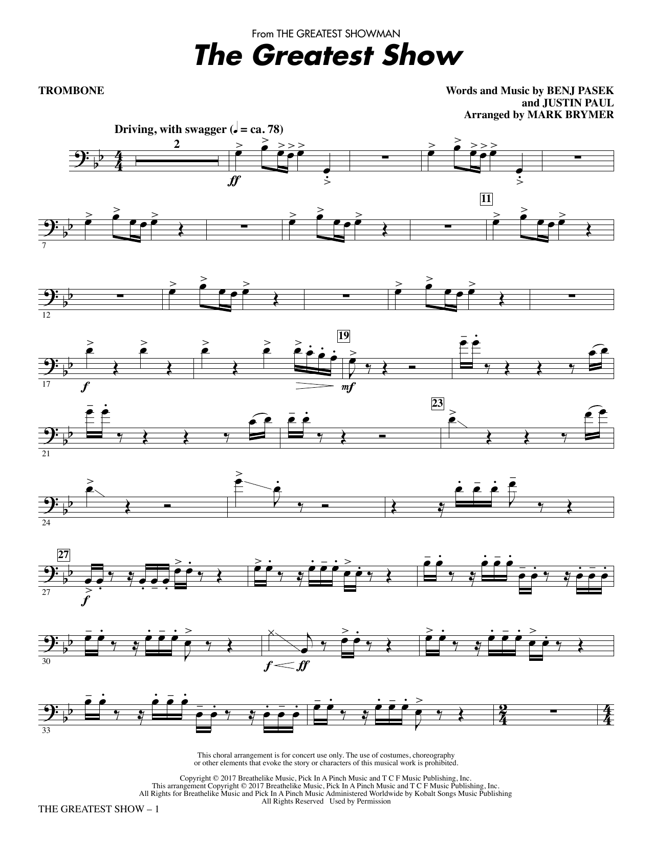 Pasek & Paul The Greatest Show - Trombone sheet music notes and chords. Download Printable PDF.