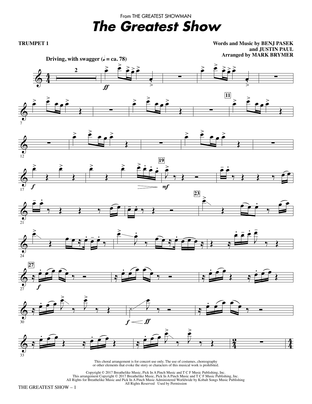 Pasek & Paul The Greatest Show - Trumpet 1 sheet music notes and chords. Download Printable PDF.