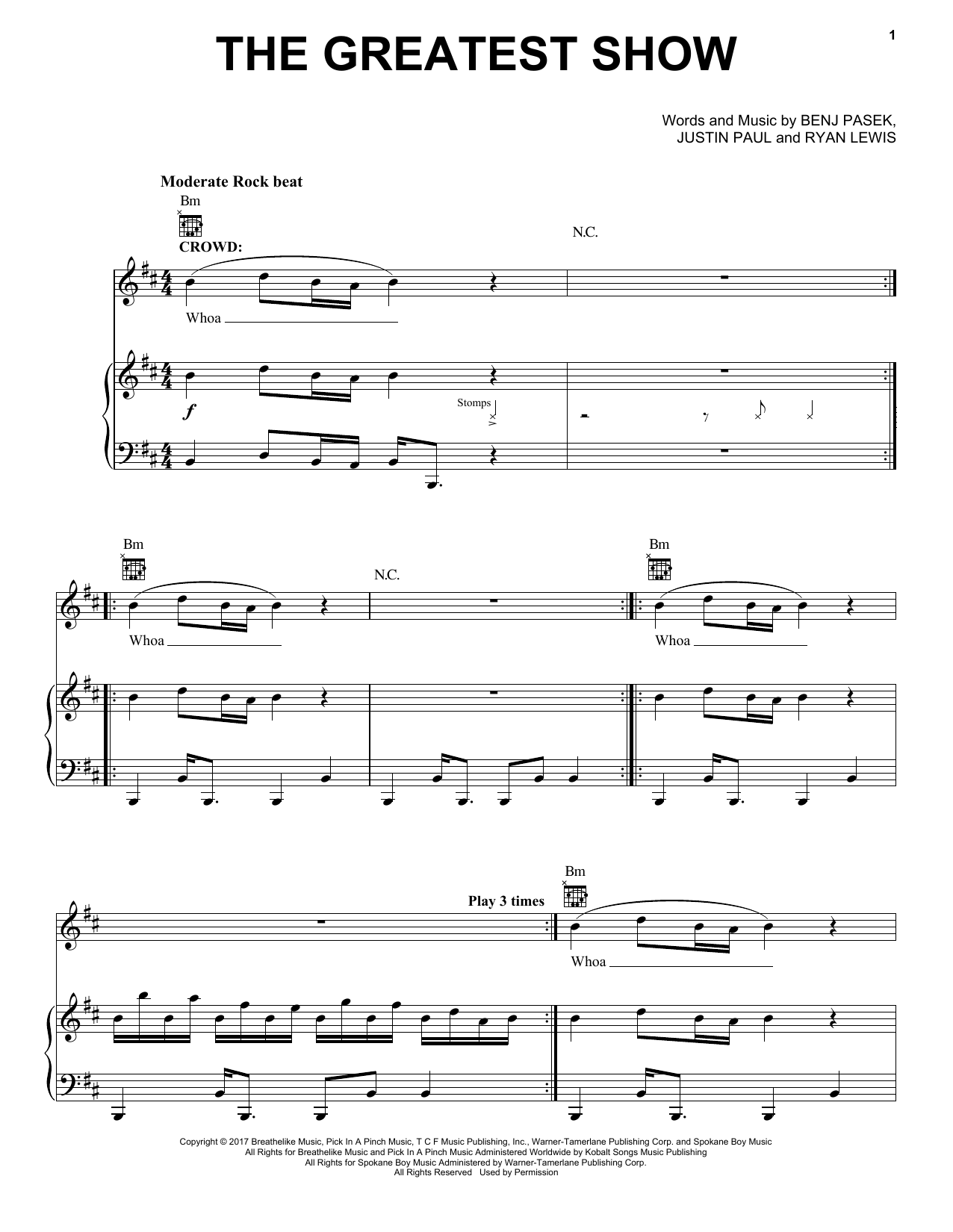 Pasek & Paul The Greatest Show (from The Greatest Showman) sheet music notes and chords. Download Printable PDF.
