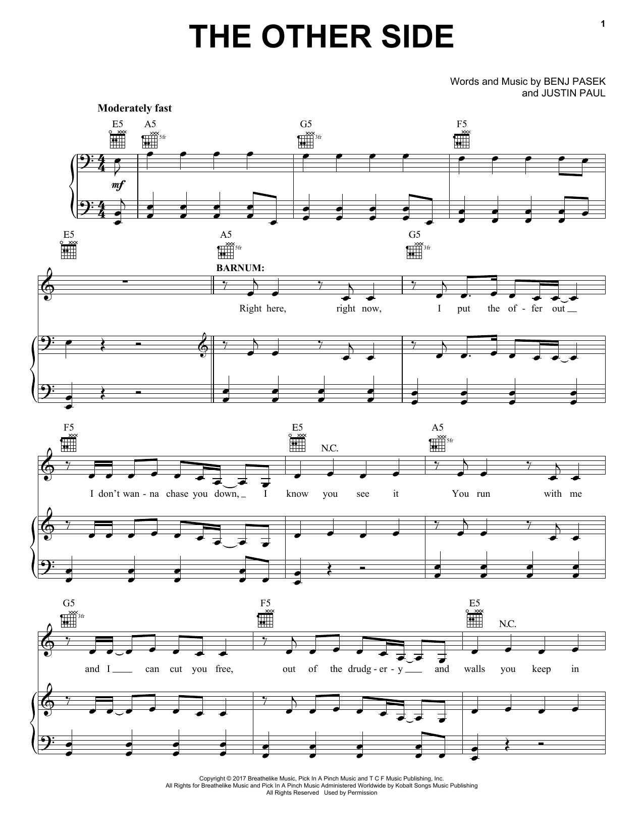Pasek & Paul The Other Side (from The Greatest Showman) sheet music notes and chords. Download Printable PDF.