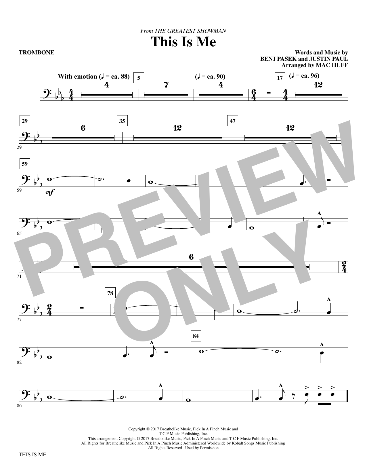 graphic about Free Printable Trombone Sheet Music referred to as Pasek Paul This Is Me (in opposition to The Major Showman) (arr. Mac Huff) - Trombone Sheet Songs Notes, Chords Down load Printable Choir Instrumental Pak