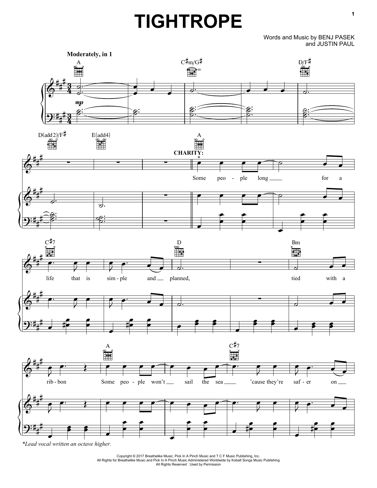 Pasek & Paul Tightrope (from The Greatest Showman) sheet music notes and chords. Download Printable PDF.