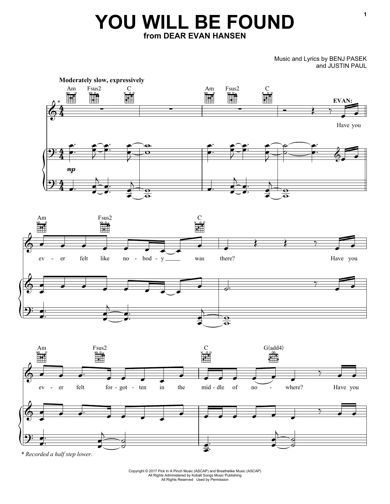 Pasek & Paul You Will Be Found (from Dear Evan Hansen) sheet music notes and chords. Download Printable PDF.