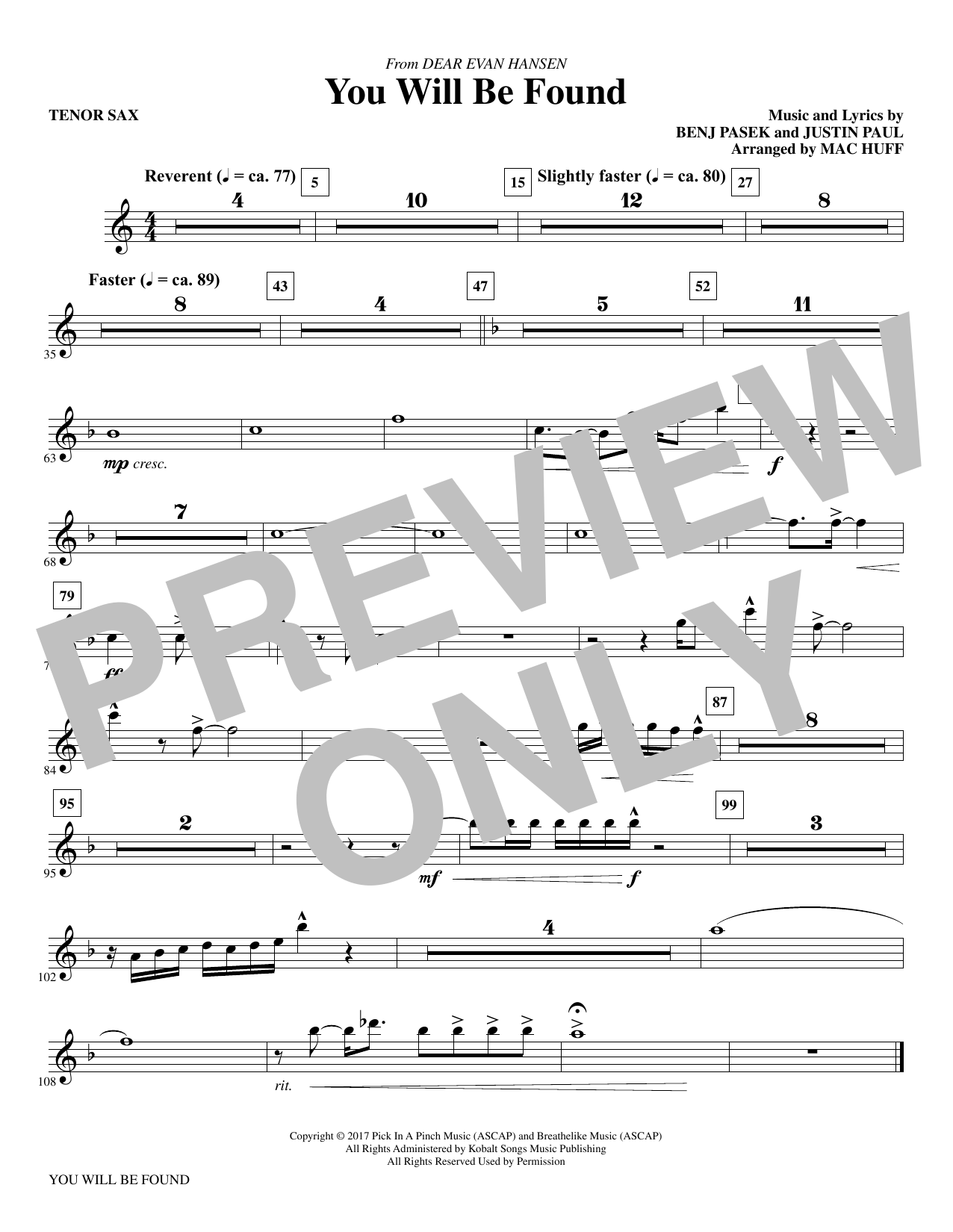 Pasek Paul You Will Be Found From Dear Evan Hansen Arr Mac Huff Tenor Saxophone Sheet Music Pdf Notes Chords Musical Show Score Choir Instrumental Pak Download Printable Sku 367232 Even when the dark comes crashing through when you need a friend to carry you when you're broken on the ground you will be found you will rise again you will rise again. fresh sheet music