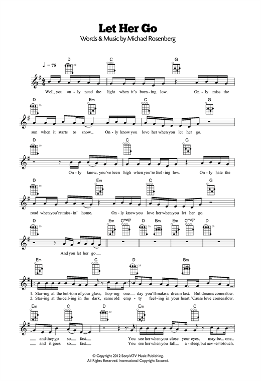 Passenger Let Her Go Sheet Music Pdf Notes Chords Pop Score Easy Piano Download Printable Sku 117084