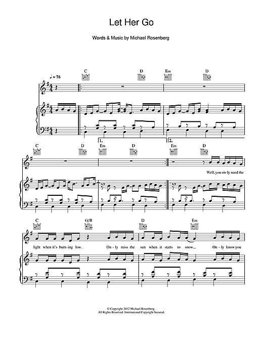 Passenger Let Her Go sheet music notes and chords. Download Printable PDF.