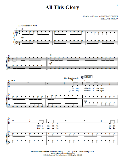 Passion All This Glory sheet music notes and chords. Download Printable PDF.