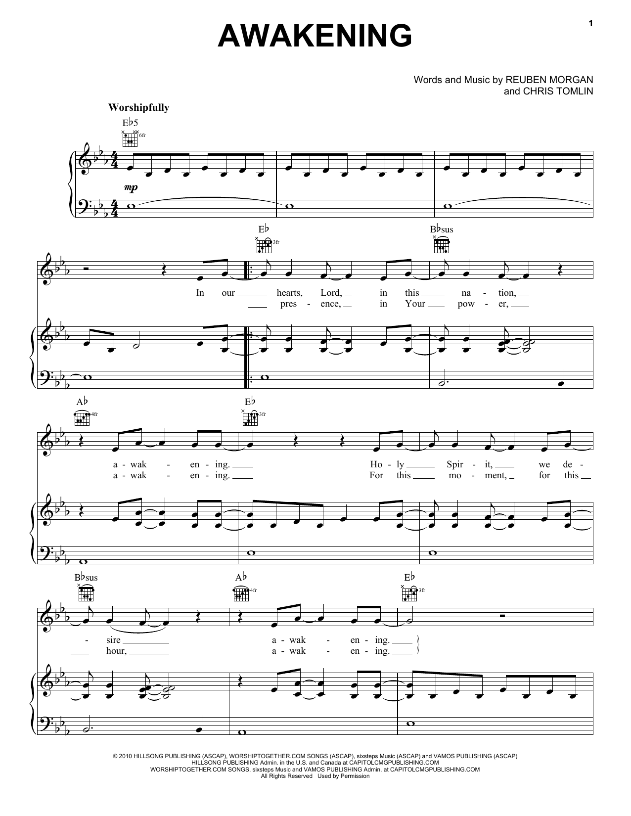 Passion Awakening Sheet Music Notes, Chords   Download Printable Piano,  Vocal & Guitar Right Hand Melody PDF Score   SKU 15