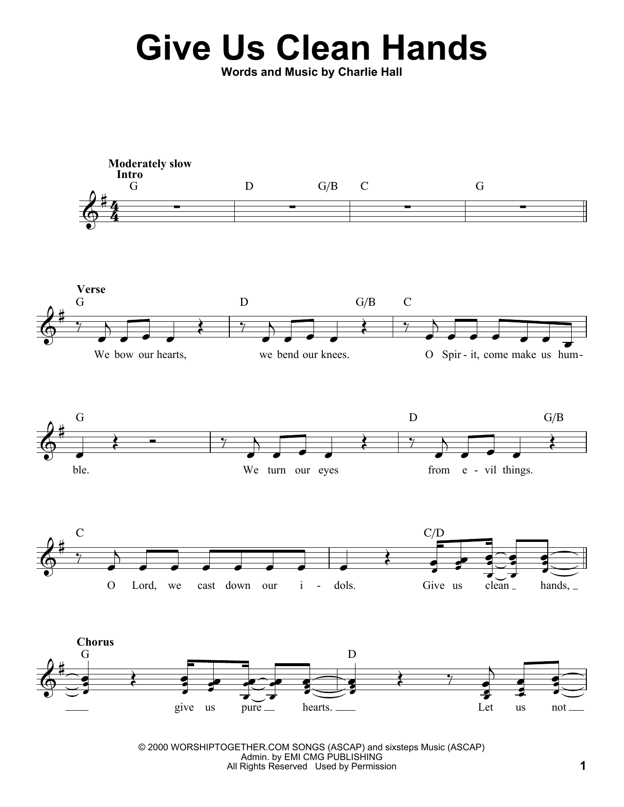 Passion Give Us Clean Hands sheet music notes and chords. Download Printable PDF.