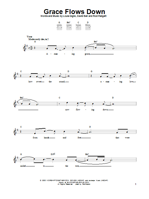 Passion Grace Flows Down sheet music notes and chords. Download Printable PDF.