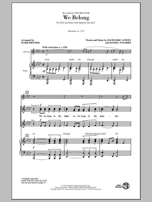 Pat Benatar We Belong (arr. Mark Brymer) sheet music notes and chords. Download Printable PDF.