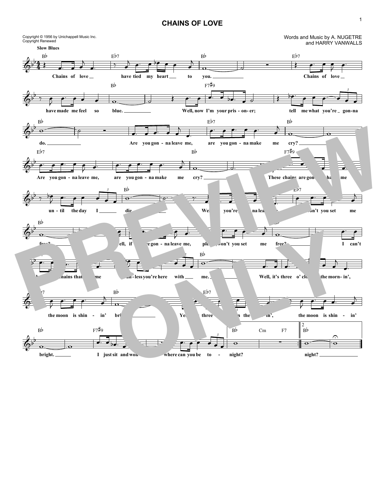 Pat Boone Chains Of Love sheet music notes and chords. Download Printable PDF.