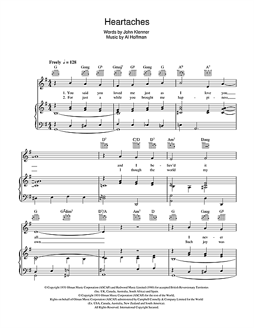 Pat Boone Heartaches sheet music notes and chords. Download Printable PDF.