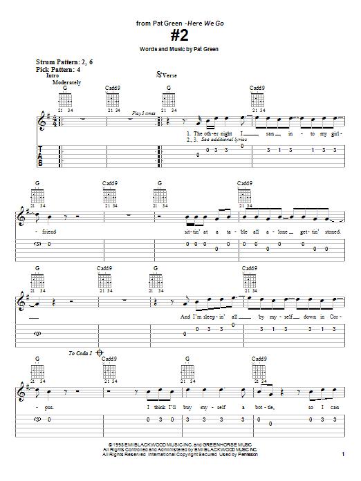 Pat Green #2 sheet music notes and chords. Download Printable PDF.