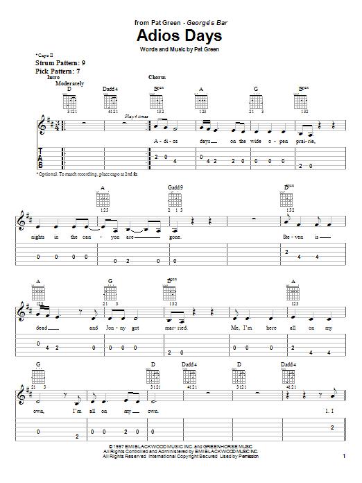 Pat Green Adios Days sheet music notes and chords. Download Printable PDF.