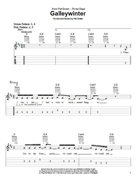 Pat Green Galleywinter sheet music notes and chords. Download Printable PDF.