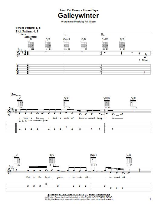 Pat Green Galleywinter sheet music notes and chords. Download Printable PDF.