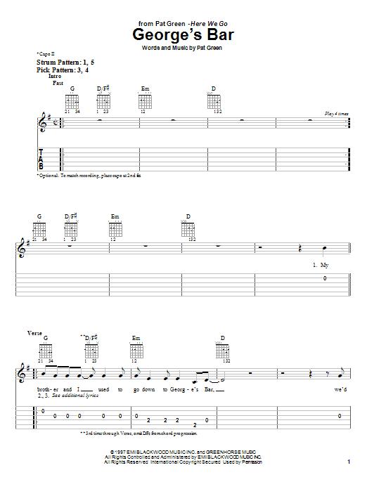 Pat Green George's Bar sheet music notes and chords. Download Printable PDF.