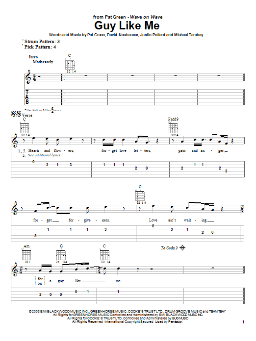 Pat Green Guy Like Me sheet music notes and chords. Download Printable PDF.