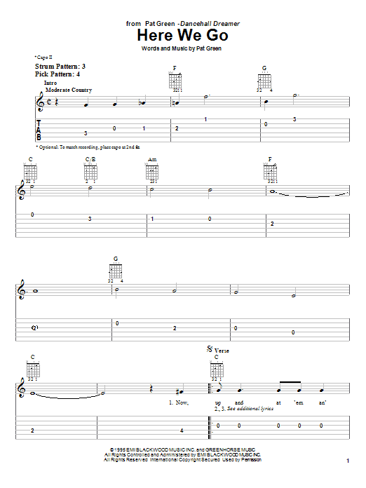 Pat Green Here We Go sheet music notes and chords. Download Printable PDF.