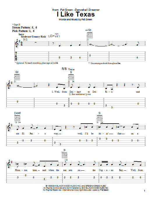 Pat Green I Like Texas sheet music notes and chords. Download Printable PDF.