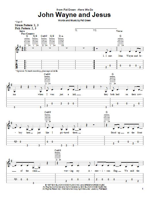 Pat Green John Wayne And Jesus sheet music notes and chords. Download Printable PDF.