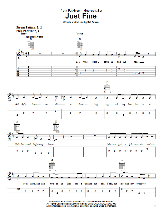 Pat Green Just Fine sheet music notes and chords