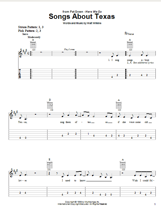 Pat Green Songs About Texas sheet music notes and chords. Download Printable PDF.