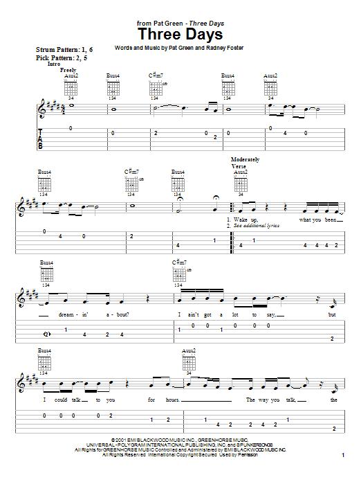 Pat Green Three Days sheet music notes and chords. Download Printable PDF.