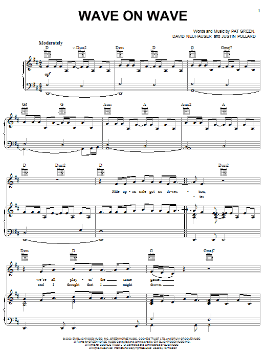 Pat Green Wave On Wave sheet music notes and chords. Download Printable PDF.
