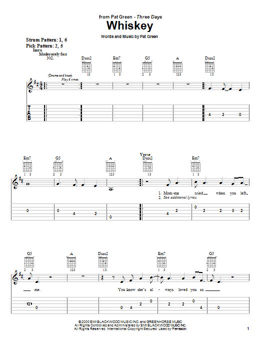 Pat Green Whiskey sheet music notes and chords. Download Printable PDF.