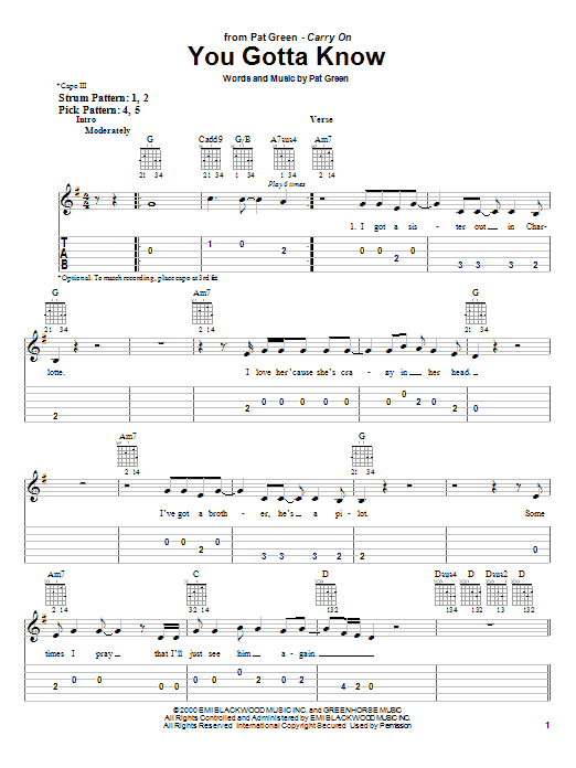 Pat Green You Gotta Know sheet music notes and chords. Download Printable PDF.