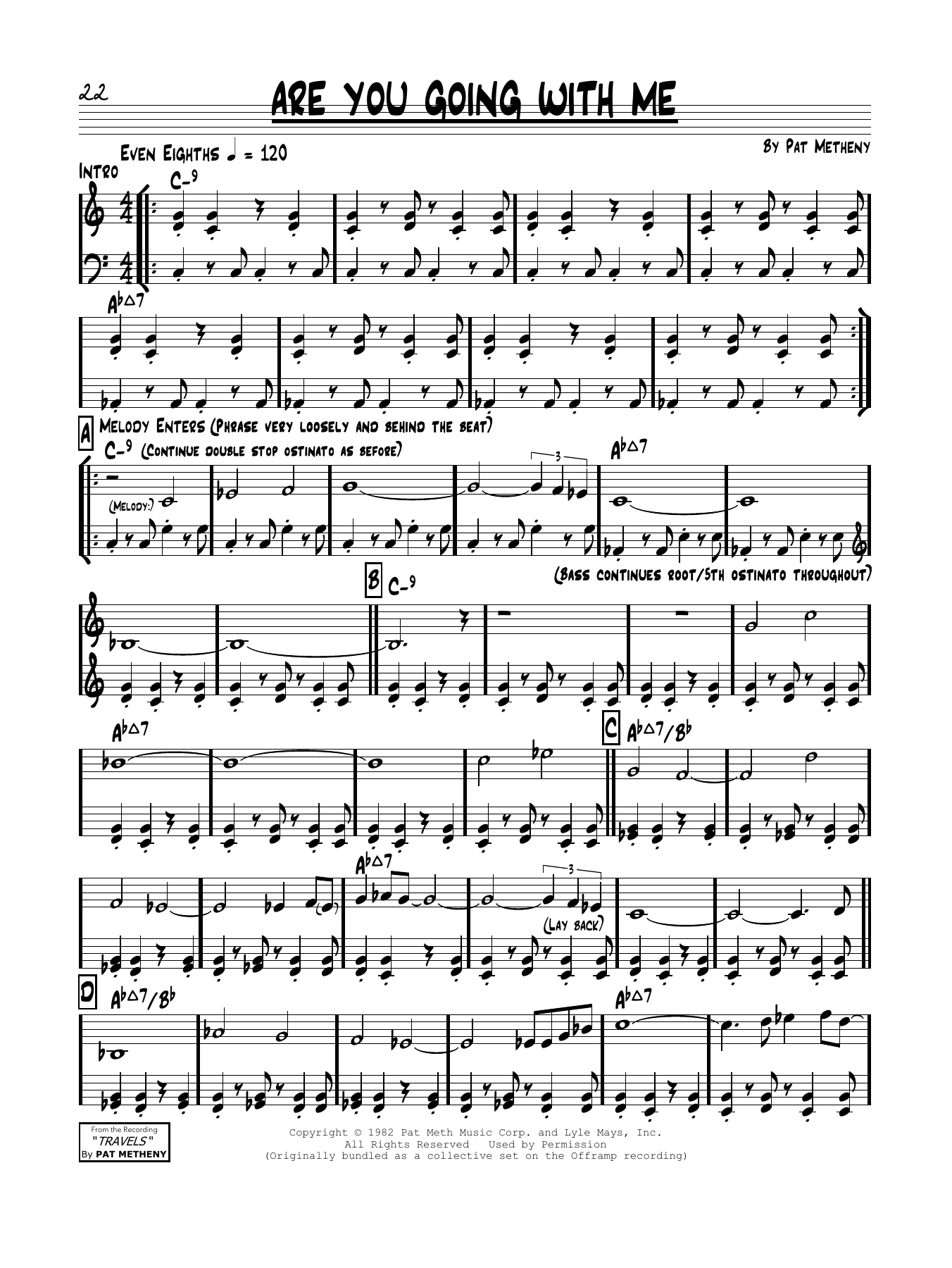Pat Metheny Are You Going With Me? sheet music notes and chords. Download Printable PDF.