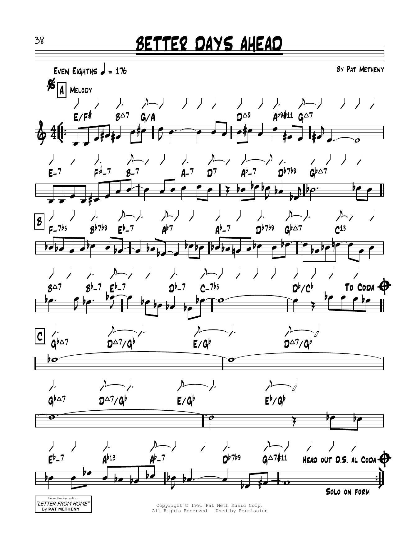 Pat Metheny Better Days Ahead sheet music notes and chords. Download Printable PDF.